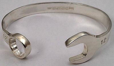 """Snap on"" large gents spanner bangle"