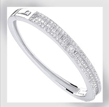 Load image into Gallery viewer, Baby silver baguette bangle