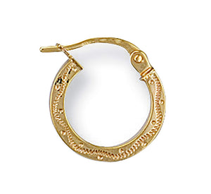 Yellow Gold Patterned Hoop Earrings