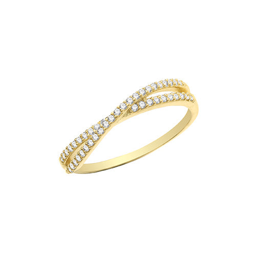 Ladies Gold paved cross over ring