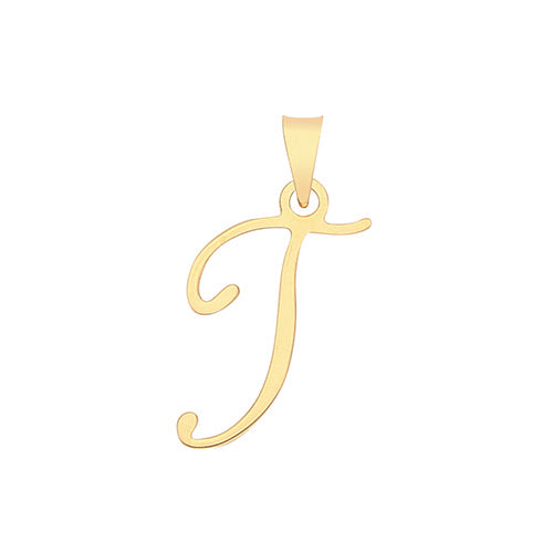 Fancy font gold initial pendant