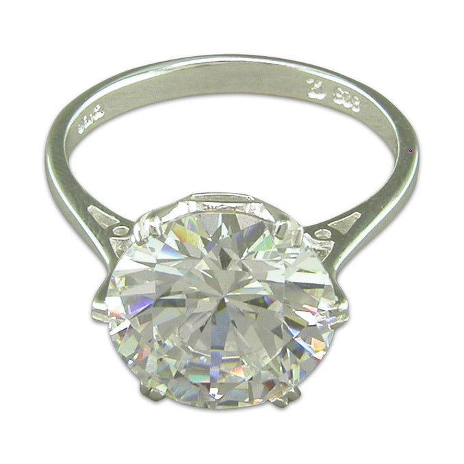 Cher ladies large cz solitaire ring