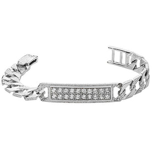 Child's paved ID plate bracelet - London Fifth Avenue jewellery