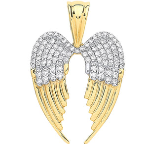 Gold angle wings pendant