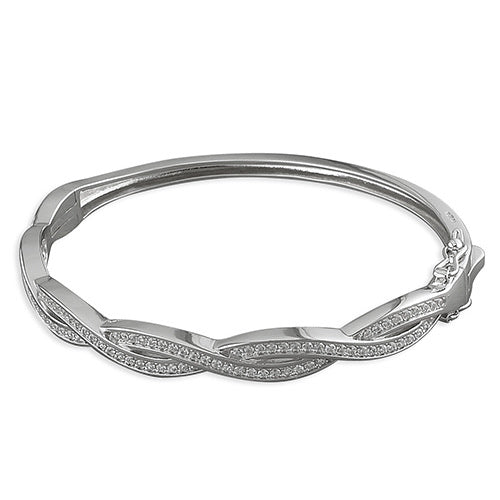 Twisted plat paved woman's silver bangle