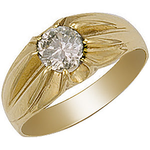Single stone gold gents gypsy ring