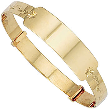 Yellow 9ct gold baby ID bangle - London Fifth Avenue jewellery