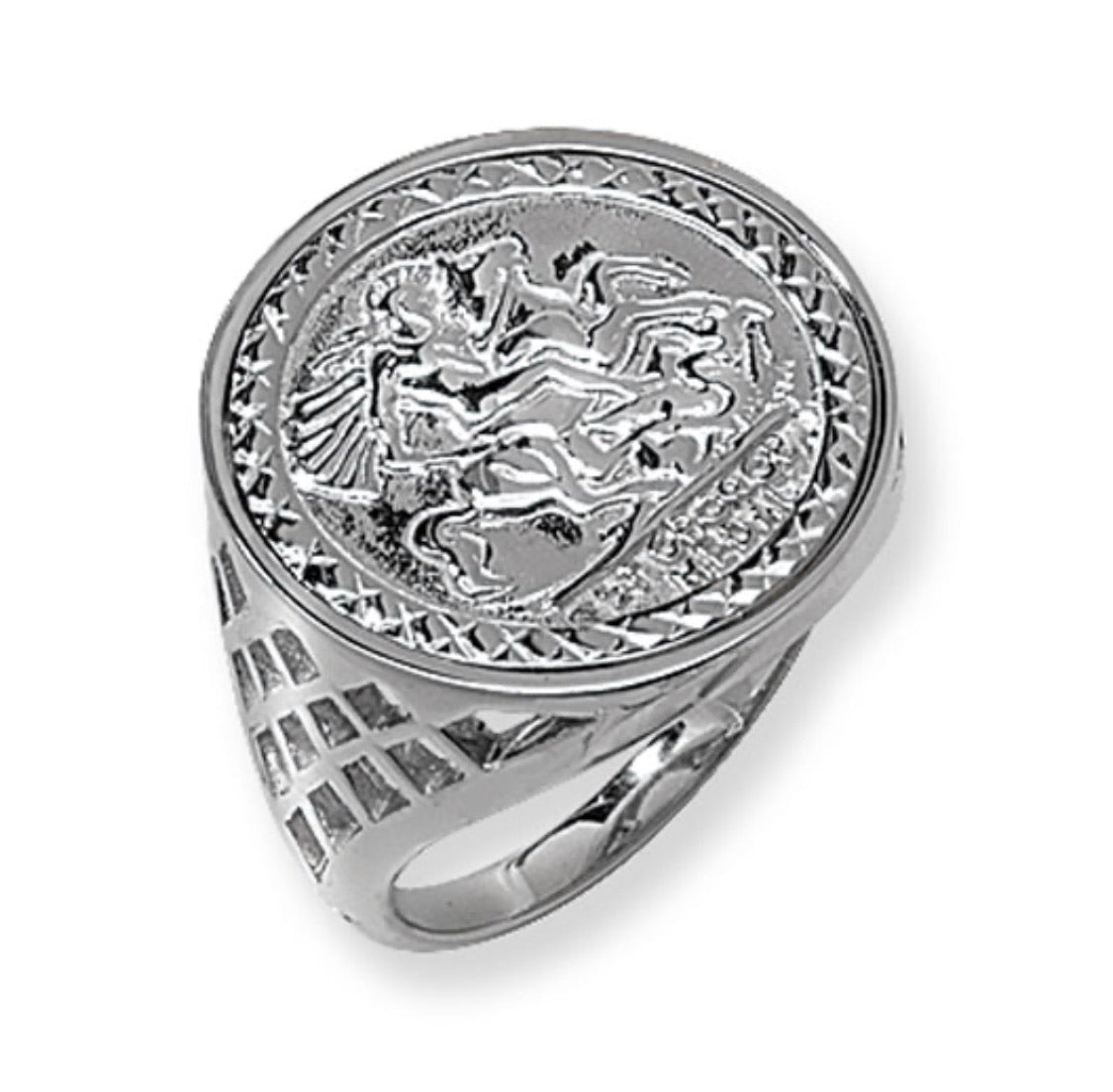 St George basket cage silver coin ring