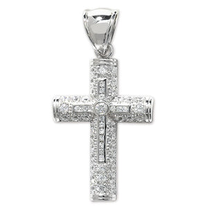 ICEY Large Silver Paved Cross Pendant - London Fifth Avenue jewellery