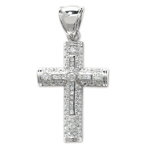 ICEY Large Silver Paved Cross Pendant