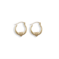9ct Yellow Gold Round Creole with Heart Earrings - London Fifth Avenue jewellery
