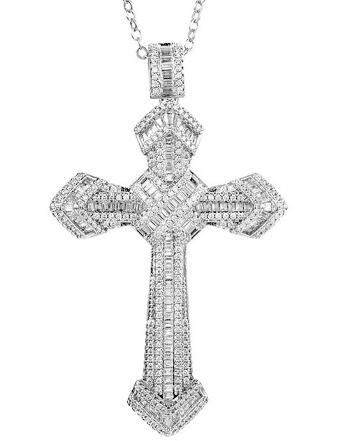 Lilly mae Silver baguette cross