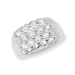 Gents 4 row silver keeper ring