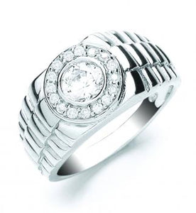 Gents Silver Rolex Style Ring - London Fifth Avenue jewellery