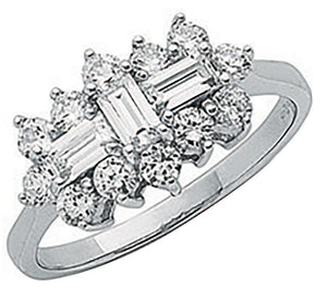 White gold cz boat ring