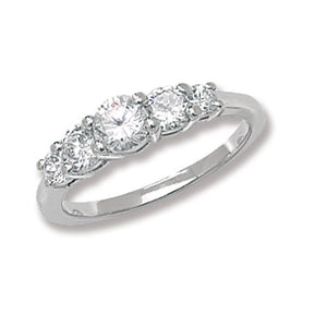 Silver solitaire cz stone ladies ring