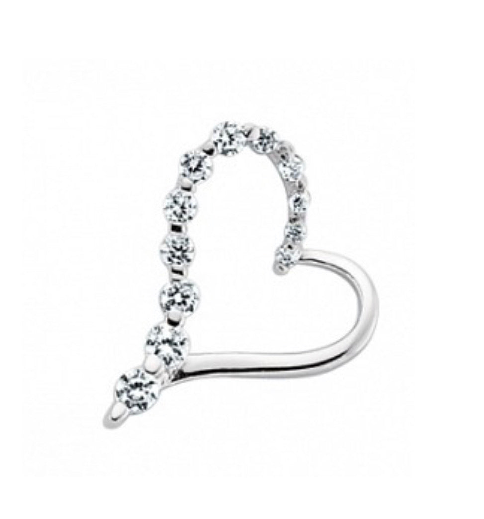 Small slanted heart pendant - London Fifth Avenue jewellery