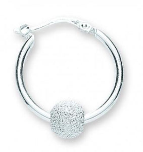Silver Glitter Ball Hoop Earrings