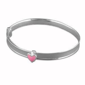 Expandable silver baby bangle heart or flower