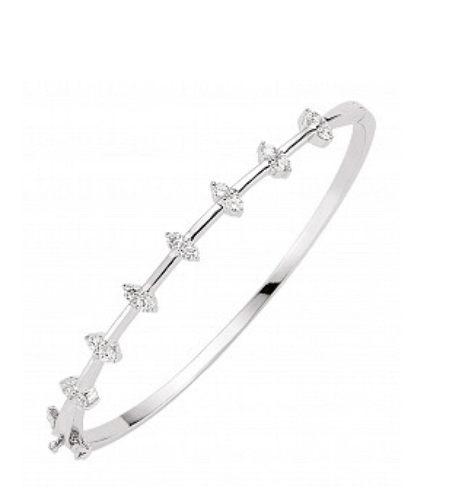 Silver Cubic Zirconia Oval Stone Bangle