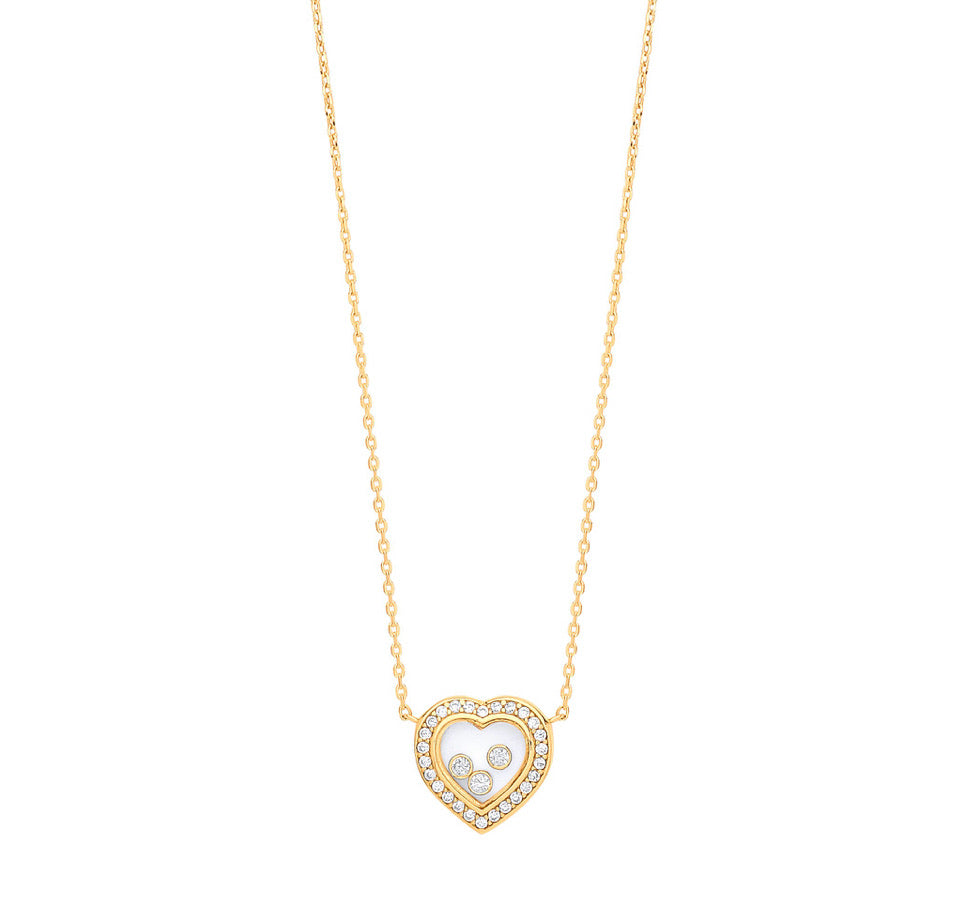 Floating cz diamond 9ct gold heart & chain