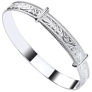 Engraved ribbed gypsy bangle expandable