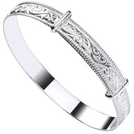 Engraved ribbed gypsy bangle expandable - London Fifth Avenue jewellery