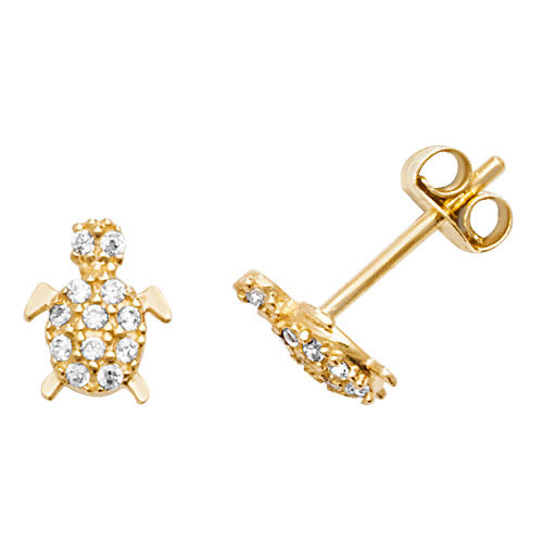 Yellow Gold CZ Turtle stud earrings