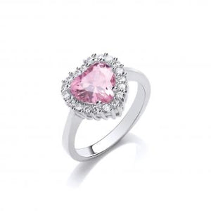 Pink stone heart ring size L-Q - London Fifth Avenue jewellery