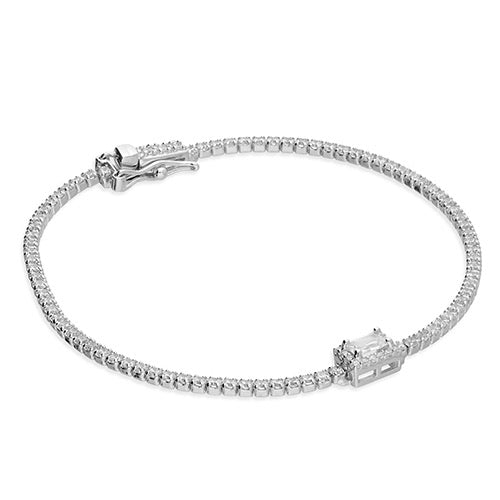 cubic zirconia tennis bracelet with central, halo-set, emerald-cut, cubic zirconia