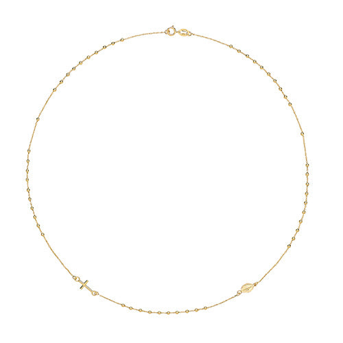 Rosary necklet 9ct yellow gold 16 inch