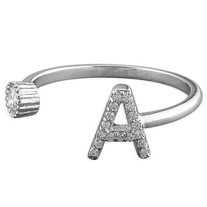 Woman's adjustable letter ring