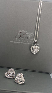 Heart shape earrings baguette & paved stones - London Fifth Avenue jewellery