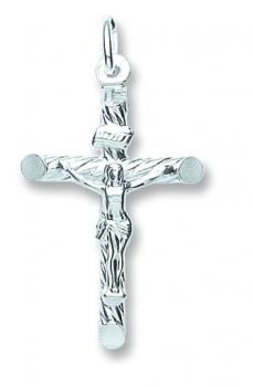 Silver tubed crucifix - London Fifth Avenue jewellery