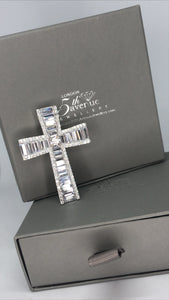 Silver baguette Cathedral cross pendant - London Fifth Avenue jewellery