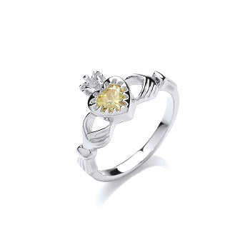Claddagh Ring yellow cubic stone - London Fifth Avenue jewellery