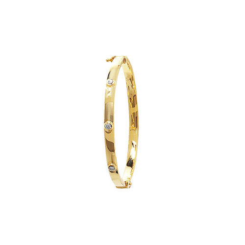 Cubic zirconia babies bangle yellow gold