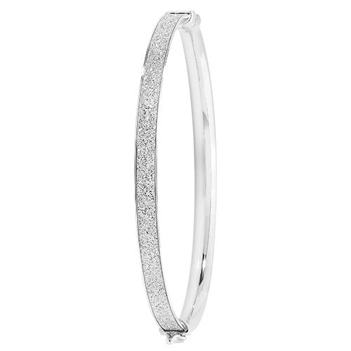 Womans glitter stripe silver bangle