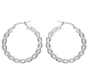 Flat curb link hoop earrings