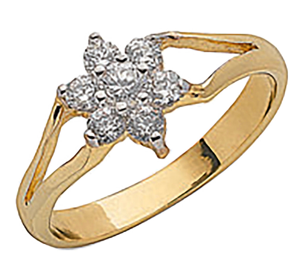 Little girls flower ring yellow gold