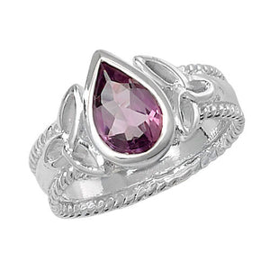 SILVER LADIES CELTIC DSIGN AMETHYST RING - London Fifth Avenue jewellery