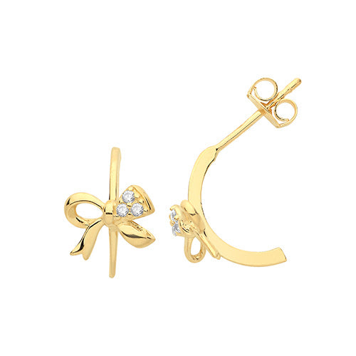 Lucy-Lou Bow stud gold earrings