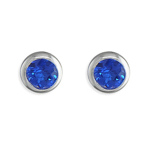 September birthstone rubover cubic zirconia stud earrings