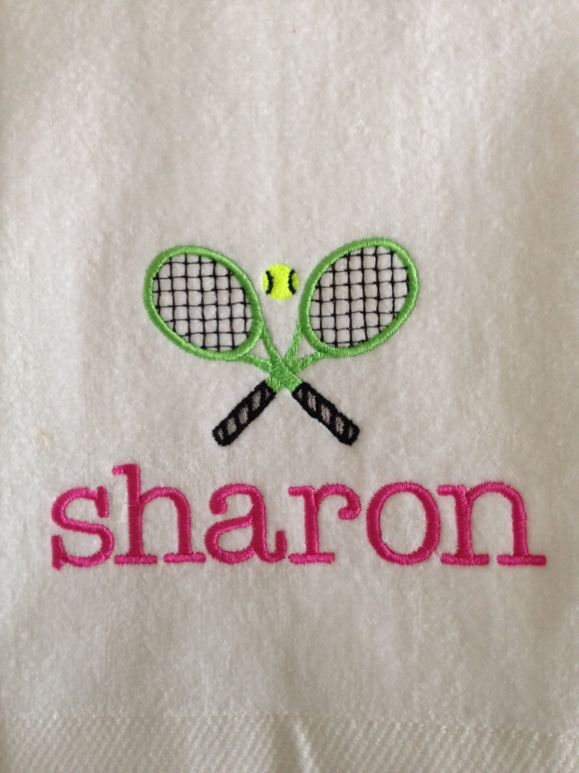 "Tennis Racquet Sports Towel (16"" x 27"") Personalized"