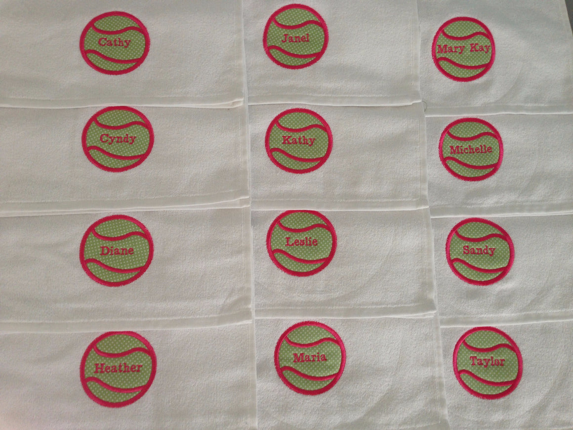 Tennis Team Custom Logo Towels (15 towels total) Personalized, White