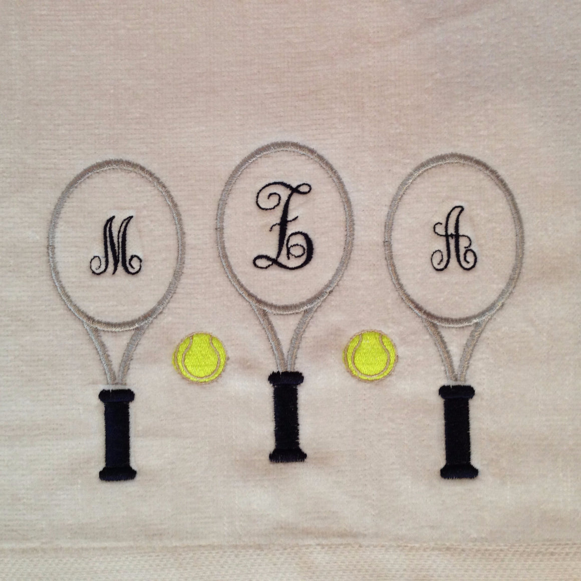 Monogrammed Personalized Tennis Racquet Sports Sweat Towel
