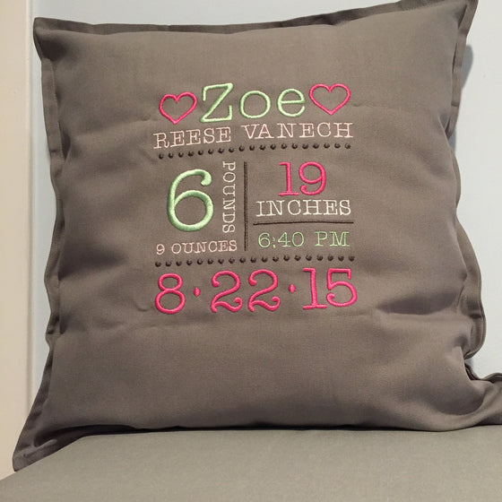 Baby Birth Announcement Subway Art Pillow - Cover Only