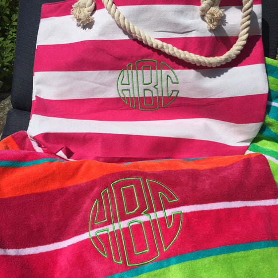 Monogrammed Beach Bag and Towel
