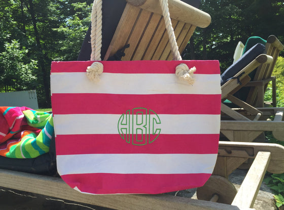 Monogrammed Personalized Shopping Tote/Purse Striped with Rope Handle