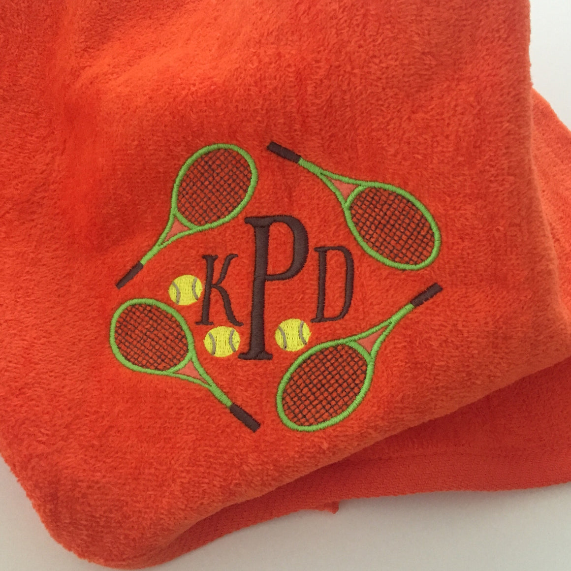 Personalized Tennis Captain Banquet Gift - Applique Flower Ball Ladies Sports Towel